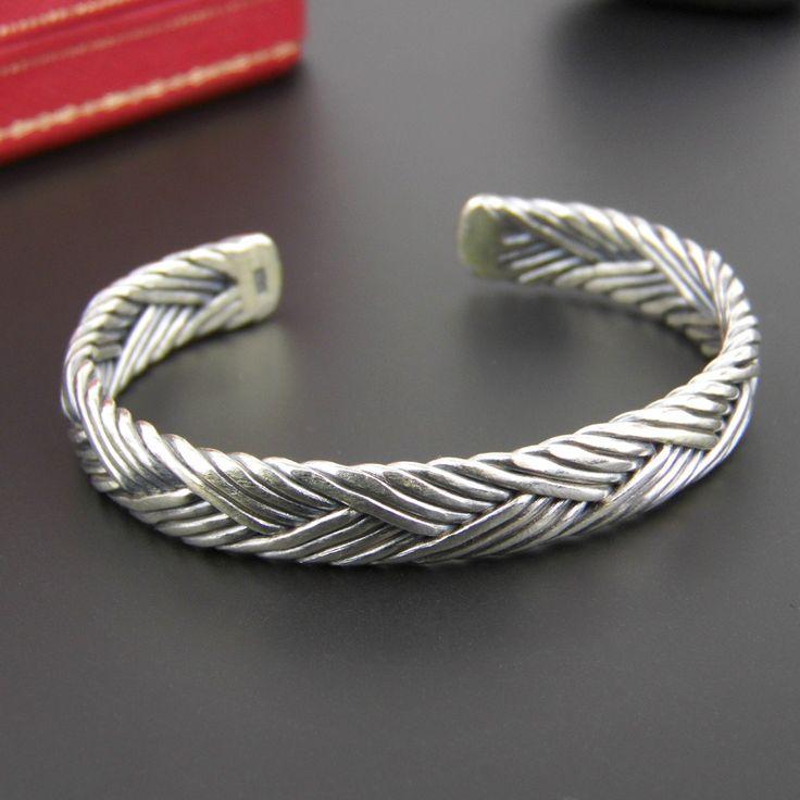 Amor é Thai prata 925 pulseira de prata pulseira de flores de cânhamo exagerada abertura(China (Mainland))