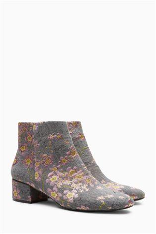 Floral Low Block Heel Boots