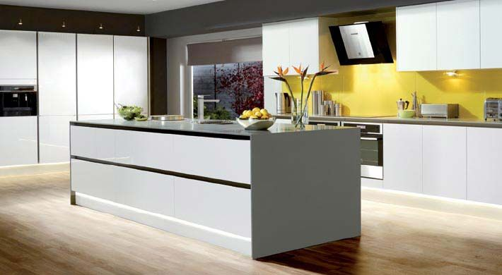 Integra White with dove corian surface and glass splashback