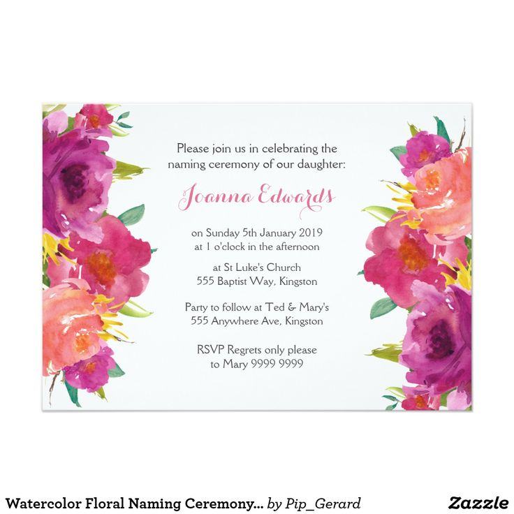 The 25 best naming ceremony invitation ideas on pinterest watercolor floral naming ceremony personalized card stopboris Choice Image