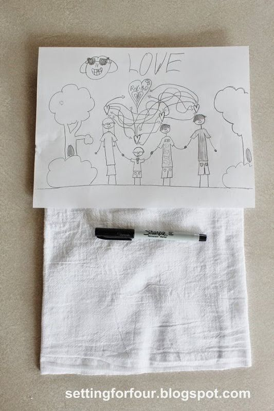DIY kids art tea towel. Turn Kid's art into tea towels! Fun DIY to do with the kids artwork and great gift idea! www.settingforfour.com