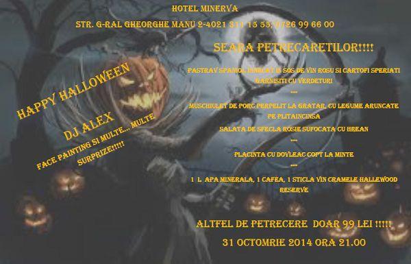 Hotel Minerva Bucuresti te invita la petrecere de Halloween. În atmosfera mai mohorâtă de toamna o petrecere iti poate ridica starea de spirit!