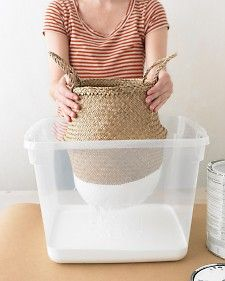 DIP DYED BASKETS  Could work on straw hats too :)