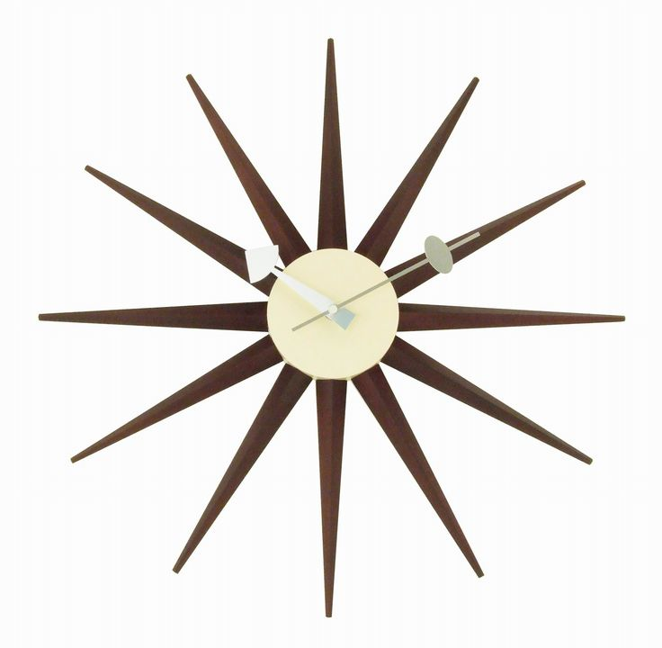 Sunburst Clock Wood Angled