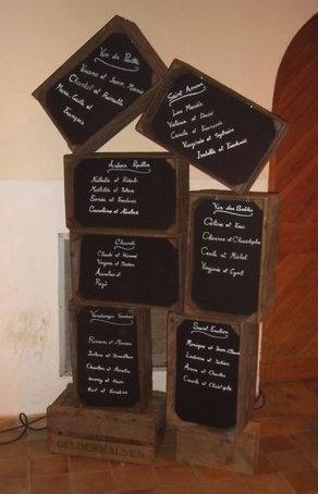 Plan de table : méli mélo de cagettes