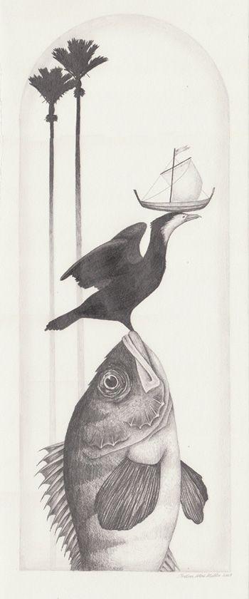 Small Nikau series, I, pencil study, 2009 Andrea Mae Miller exhibition kura art gallery new zealand