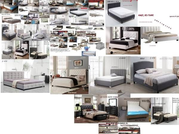 AWESOME MEGA DEAL PLATFORM FABRIC OR LEATHER BEIGE,GREY,BLACK AND WHITE BED FRAME FOR SALE BRAND NEW THE BEST DEAL IN VANCOUVER AREA Queen size beige, grey fabric or white and black leather bed frame
