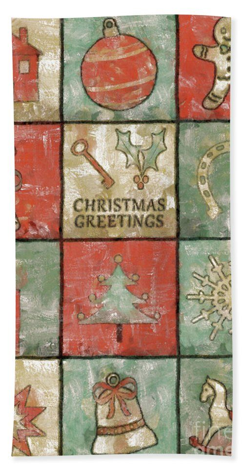 Christmas Beach Towel featuring the painting Vintage Christmas Greetings by Grigorios Moraitis