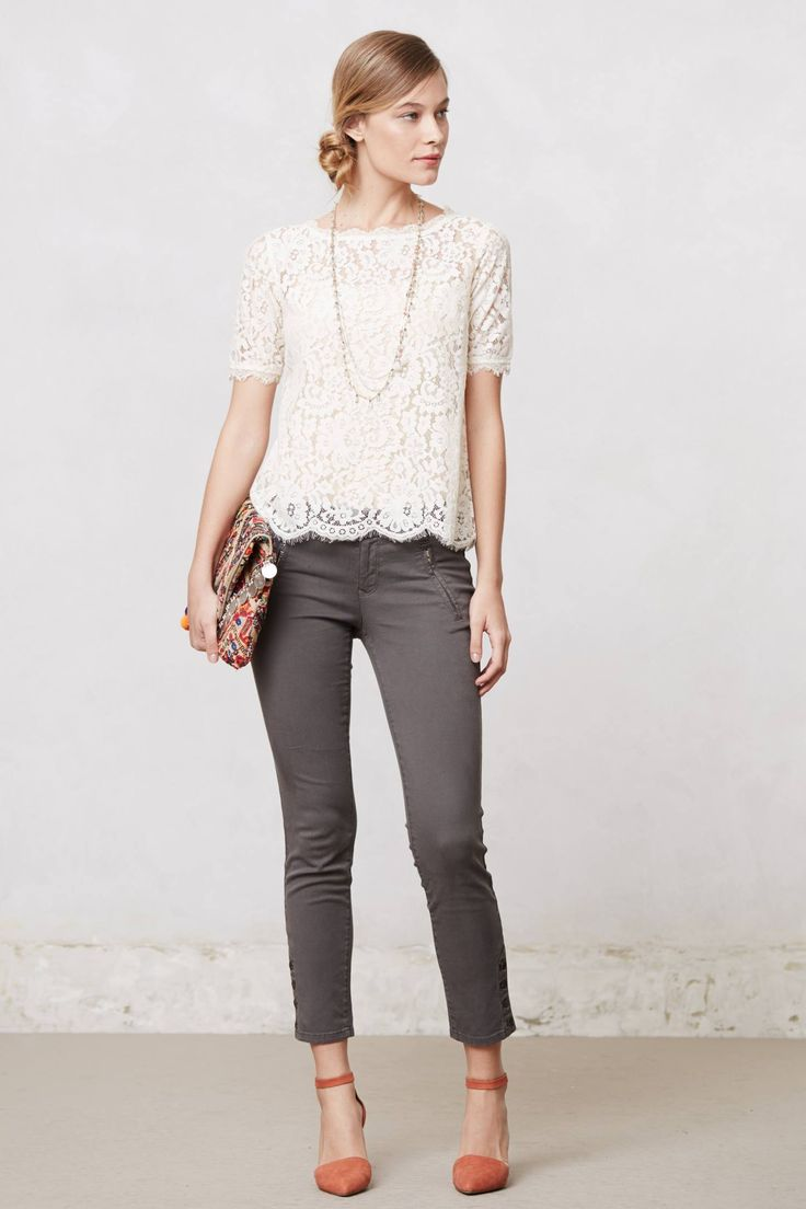 cream lace and grey cropped skinnys