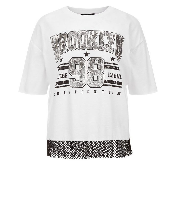 White Brooklyn Print Mesh T-Shirt | New Look
