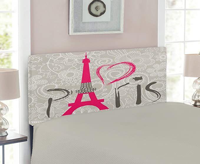 Lunarable Eiffel Tower Headboard Paris Lettering I Love Paris Lace Pattern Background Heart Shape Upholstered Decorativ In 2020 Metal Headboard Metal Decor Upholster