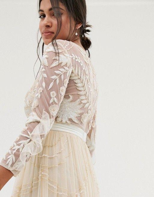 63a2e400a5515 Amelia Rose | Amelia Rose vintage ruffle maxi dress with soft baroque  embellishment in cream