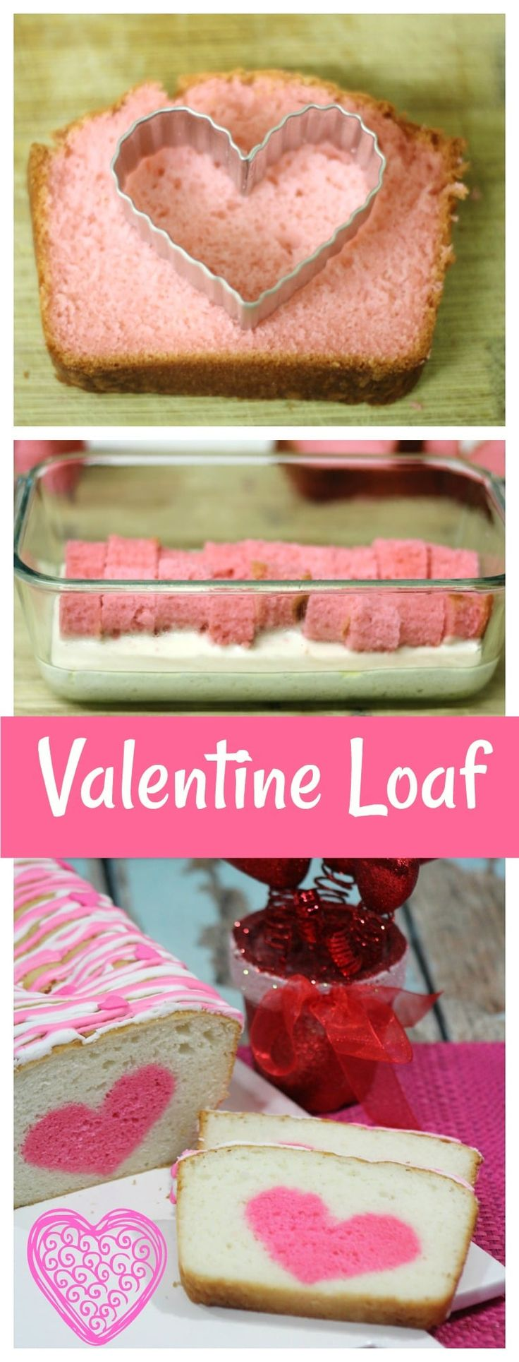 Vanilla Strawberry Loaf Heart Cake