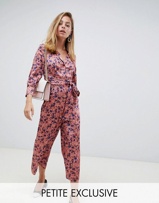 24475ed96412 Lost Ink Petite wide leg jumpsuit with tie waist in ditsy floral print in  2019