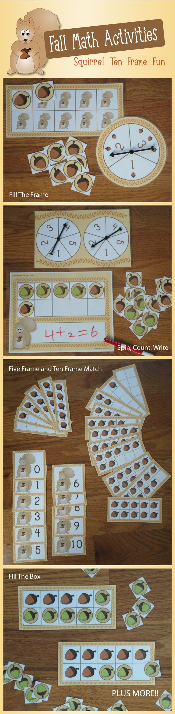 Squirrel ten frame math activities.vit use math skills so it can help them add and tell time and learn their numbers.