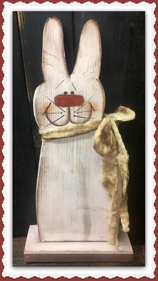 Primitive Wooden Bunnys, Primitive Country Home Décor Farmhouse Primitive Bunnys