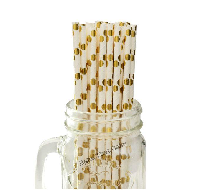 50 x Polka Dot Gold Foil White Paper Drinking Straws Wedding Party Drink Straw
