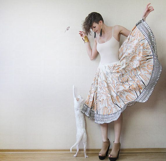 Ivory white leaf print sequined full circle skirt by founditgreat, $32.00