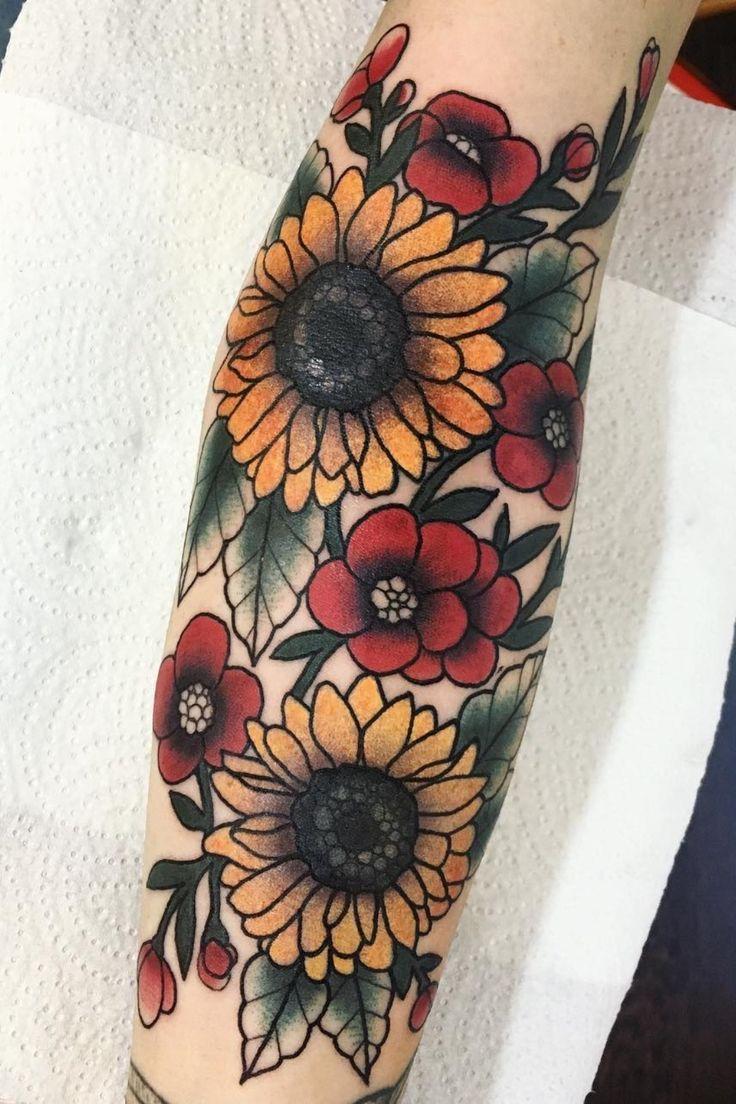 23 tatuagens de girassol para as meninas! | Tatuagens de girassol, Tatuagem girassol pequeno, Tatuagem estilo tradicional