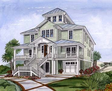 Coastal Home Plans - Crows Nest Cottage- this floorplan would look awesome in a spanish revival style