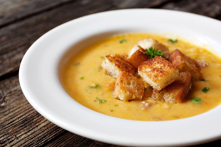 A delicious roasted butternut squash soup, with lots ofcarrots, potatoes, onions and celery, topped off with bacon croutons.