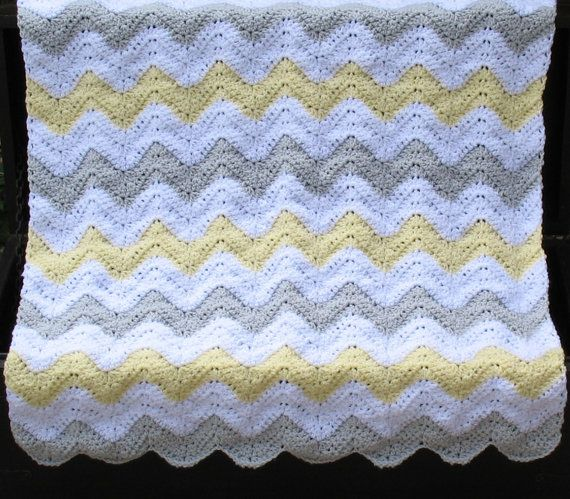This luxuriously soft heirloom blanket would make a perfect baby shower gift for the mother-to-be and new baby! The trendy chevron pattern makes this blanket a fashionable addition to any nursery! It has been crocheted with 100% hypo-allergenic yarn, so it is allergy-free and super soft. It was made in a pet-free and smoke-free environment.  This gorgeous baby blanket is ideal for both summer and winter babies! Very soft - surround your baby with comfort! This chevron baby blanket measures…