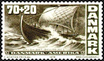 Denmark 1976. Skuldelev Viking Ship. The stamp is No. 1 in a set of four issued for celebrating the bicentenary of the American Declaration on Independence.