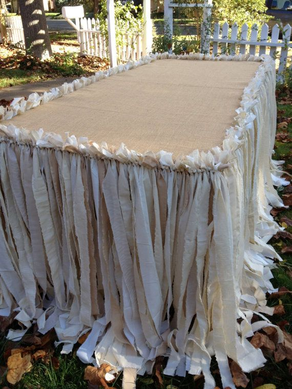 Burlap and Canvas Tablecloth / Tablecover by WellLovedWedding