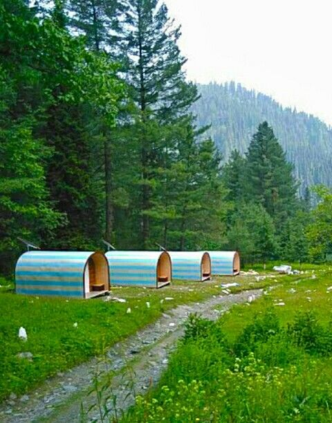 TDCKP has installed wooden huts in Sharan Forest, Kaghan Valley that have been made available for the tourists who like camping in jungle. Huts include two beds, a table and a lamp which is said to be enough for a person who is actually staying for camping.