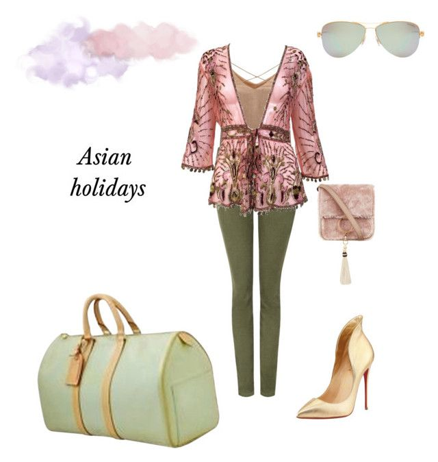 """""""Travel to.."""" by chiara-galante on Polyvore featuring Current/Elliott, Christian Louboutin, WithChic, Roberto Cavalli, Louis Vuitton, Brother Vellies and Tiffany & Co."""