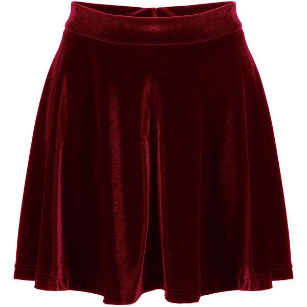 Burgundy High Waist Velvet Skater Skirt (160 HRK) ❤ liked on Polyvore featuring skirts, saias, skater skirt, burgundy skirt, high-waisted skirts, high waisted skirts and high-waisted flared skirts
