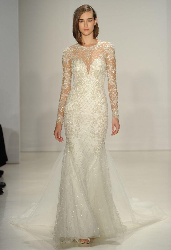 Illusion Neckline Fit-and-Flare Wedding Dress   Kenneth Pool Wedding Dresses Fall 2015   Maria Valentino/MCV Photo   blog.theknot.com