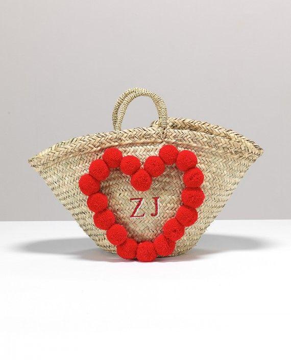 Rae Feathers Monogram Heart Pom Pom Bardot Basket with Initials