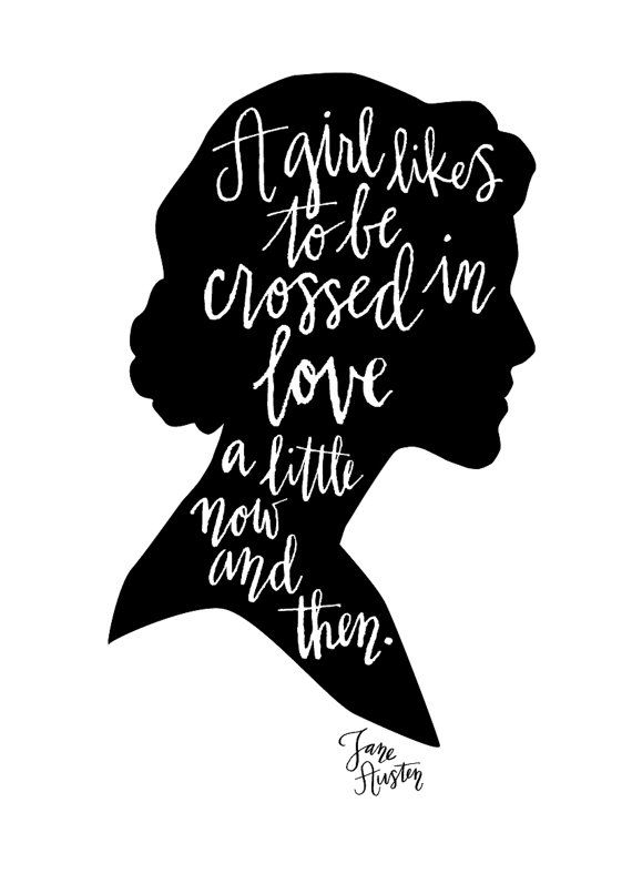 Jane Austen Quote Calligraphy Digital Print  A3 by MintAfternoon, $20.00