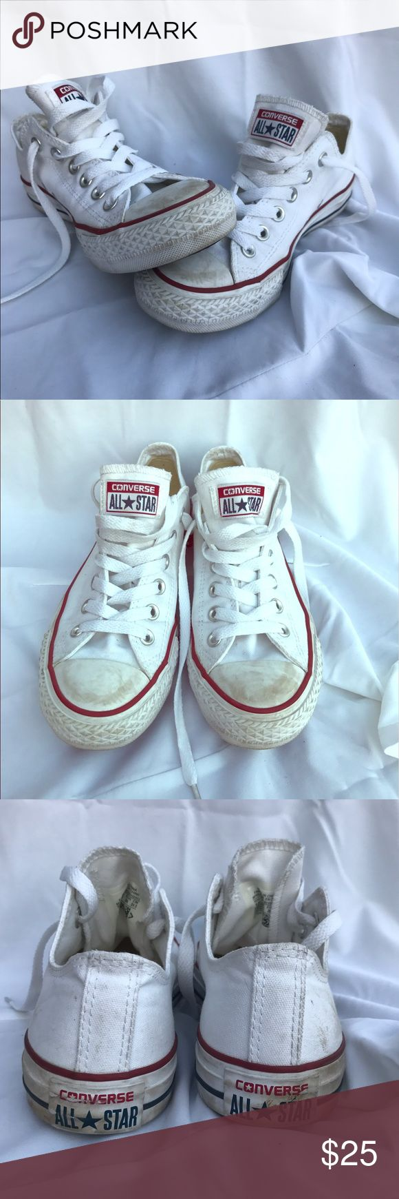 Converse Chuck Taylor's, White, Size 5.5! Converse Chuck Taylors. Women's Size 5.5. White with red and blue trim and logo! Gently worn but good condition, no rips! Sole is in great condition. Pet Free Smoke Free Household! Converse Shoes Sneakers