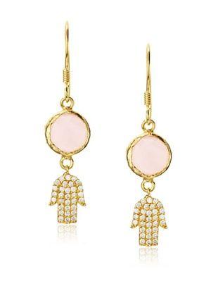 54% OFF Grand Bazaar Pink Quartz Hamsa Earrings