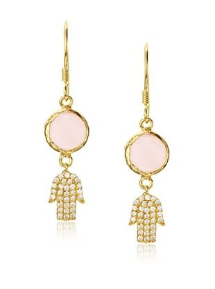 54% OFF Grand Bazaar Pink Quartz Hamsa Earrings