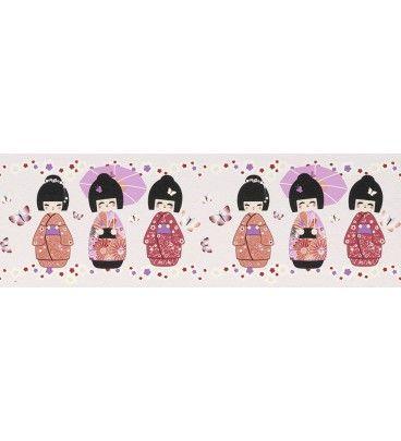 CENEFA INFANTIL KIDS CLUB RASCH C-231939. ¡A 24.55 EUROS! Una delicada cenefa infantil de geishas ideal para combinar con los diferentes papeles pintados infantiles. Un aire chic y sensual en la habitación de su hijo. Disponible en otros colores.