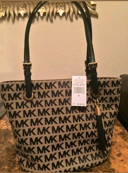 56cb00eddda673 ... new style nwt michael kors signature mk tassel tote bag black beige  msrp 248 designer women