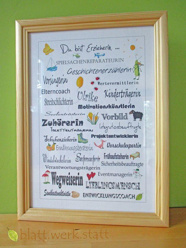 Danke Bild Erzieherin Kindergärtnerin A4