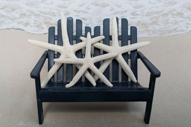 Family Starfish Cake Topper - Choice of Color - Adirondack Chair Beach Nautical Beach Sea Coastal Tropical Bench Chair Wood Star Fish by ParadiseBridal on Etsy