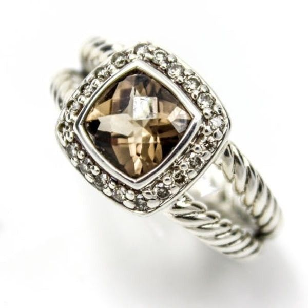 David Yurman Petite Albion Ring With Smokey Quartz And Diamonds, Size... ($395) ❤ liked on Polyvore featuring jewelry, rings, smoky quartz cocktail ring, wide rings, smoky quartz ring, pre owned rings and david yurman rings