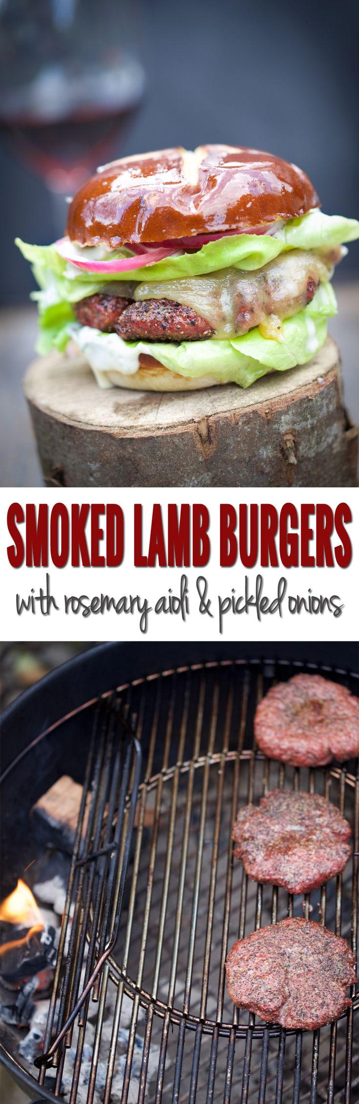 How to smoke lamb burgers on a Weber Kettle Grill and a recipe for smoked lamb burgers with rosemary aioli and pickled onions.