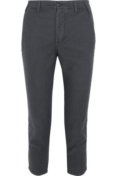 The Great - The Miner Cropped Twill Straight-leg Pants - Anthracite - 27