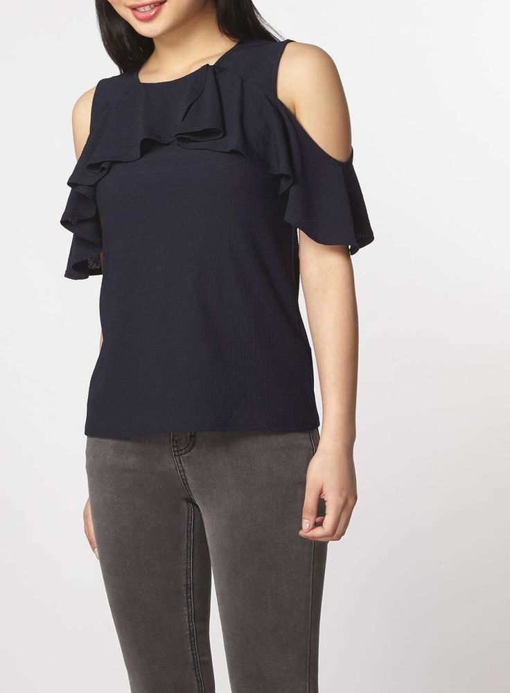 Womens Petite Navy Cold Shoulder Top- Pink