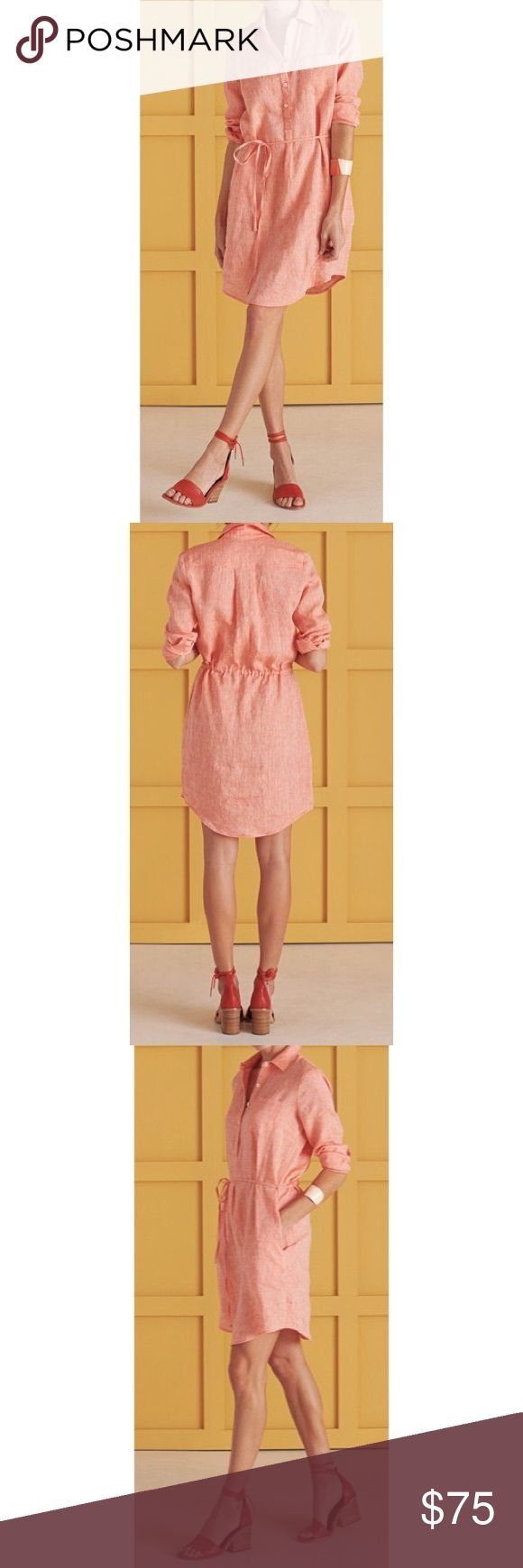 """Serena & Lily Margot Popover Dress **Barely Worn - Great Condition**  Relaxed popover dress in fabulous linen. Washed ever so slightly for that casually polished effect, it's the amalgamation of everything a woman wants to wear on the weekend. The cinched drawstring waist hits perfectly and flatters all.  Easy fit. Hits above the knee, 35"""" from shoulder. Curves up at side hem like classic men's shirts. 100% washed linen. Drawstring waist. Side seam pockets. Ivory shell buttons. Made in the…"""