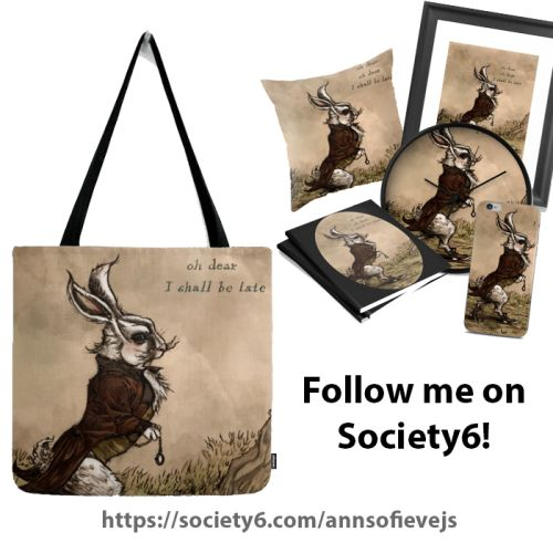 Shop various products with my art and designs in my online shop: https://society6.com/annsofievejs  #society6 #onlineshop #aliceinwonderland #thewhiterabbit #tshirt #artprint #bag #fashion #notebook #gothic #cool
