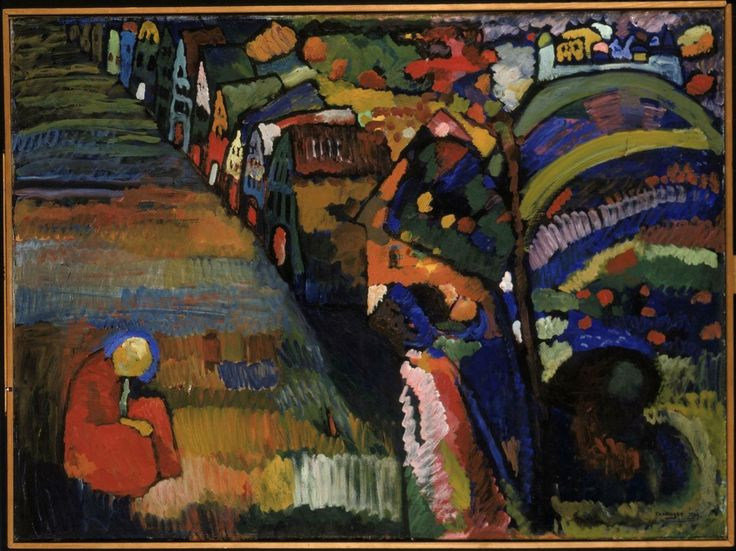Wassily Kandinsky (Russian, Expressionism, Abstract Art, 1866-1944): Painting with Houses, 1909.