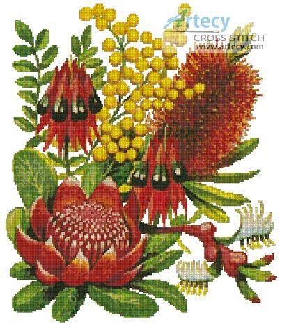 Artecy Cross Stitch. Bushland Flowers of Oz Counted Cross Stitch Pattern to print online.