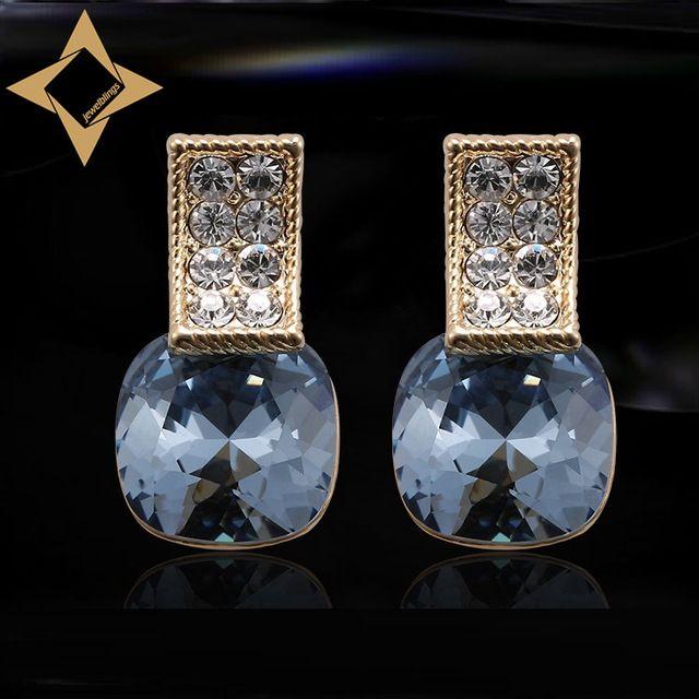 Стильный двухрядные Паве половину обруч и темно синий квадрат камень Серьги золото цвет два тона граненый камень серьги для девочек